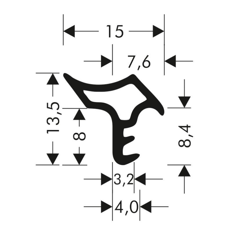Türdichtung Stahlzargendichtung Z-520 Zargendichtung Tür Zimmertürdichtung